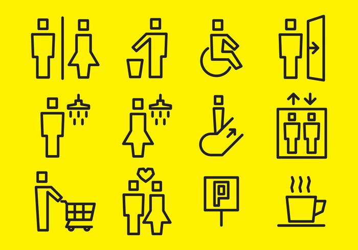 Square Stick Figure Vector Signs