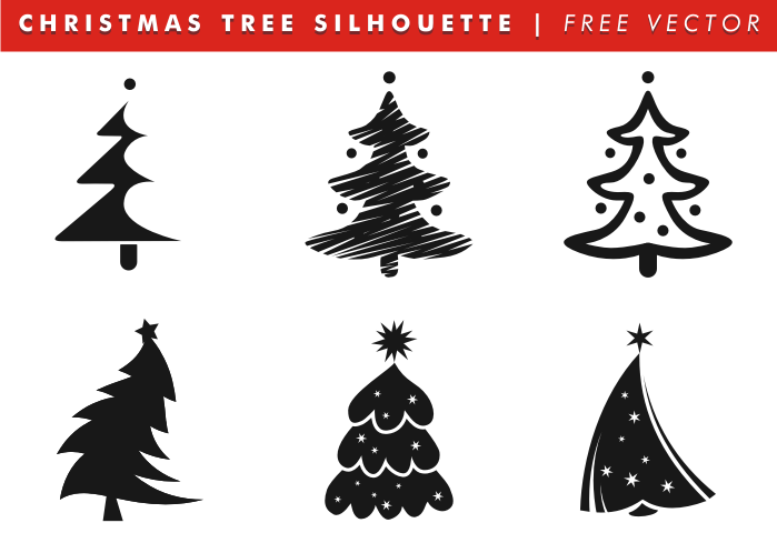Christmas tree silhouettes free vector download free - Silueta arbol de navidad ...
