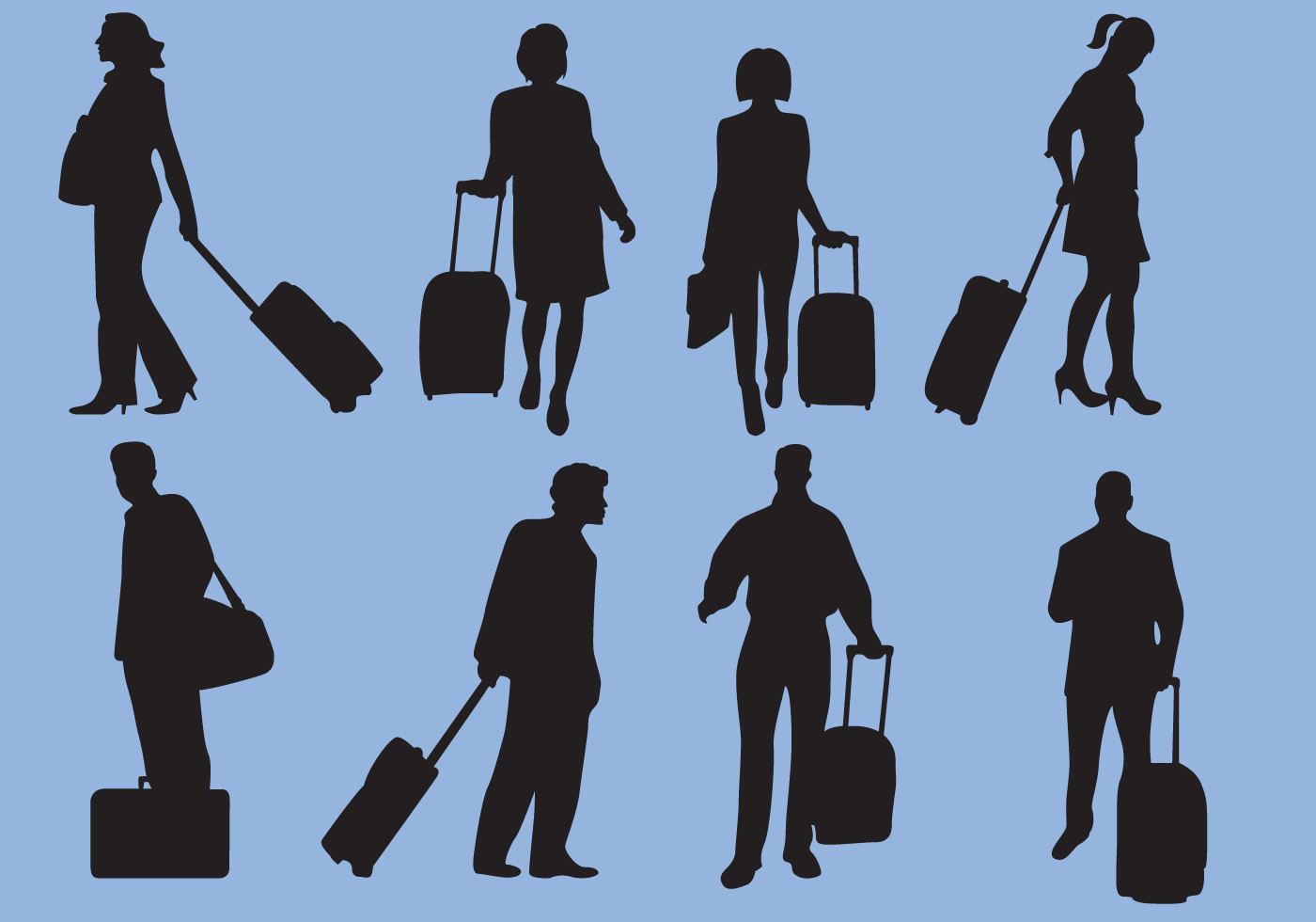 Woman And Man Traveling Silhouette Vectors Download Free