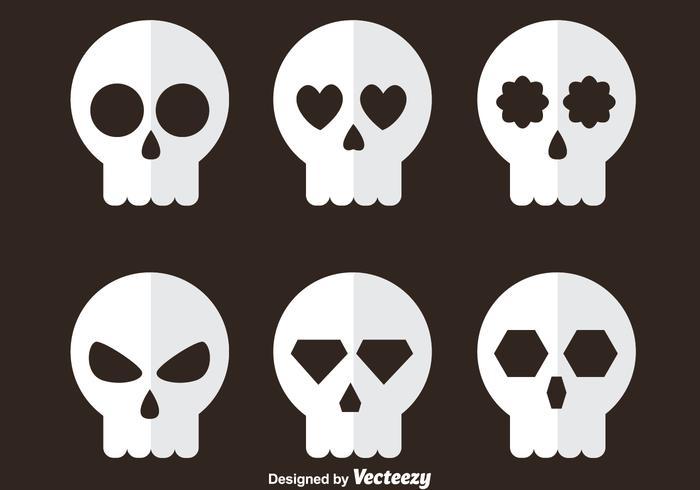 White Skull Flat Icons vector