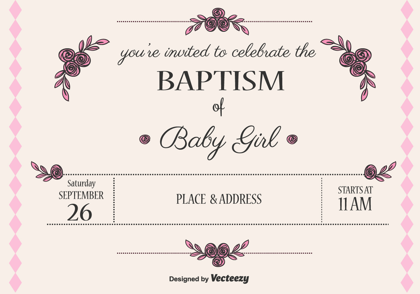 Baby Girl Baptism Vector Invitation - Download Free Vector ...