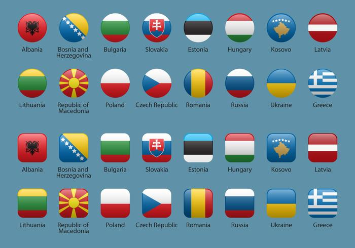 Vector Europe Button Flags