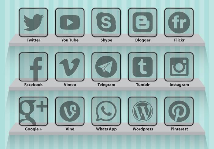 Icônes transparentes pour les médias sociaux