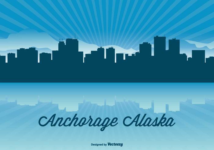 Alaska Skyline Illustration