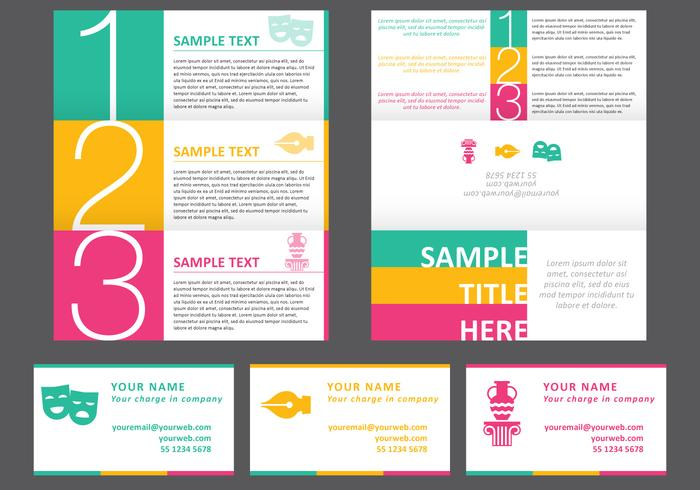 horizontal brochure design - bright horizontal brochure download free vector art