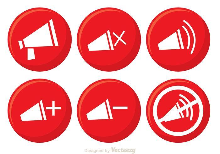 Vetores do botão do alto-falante vermelho
