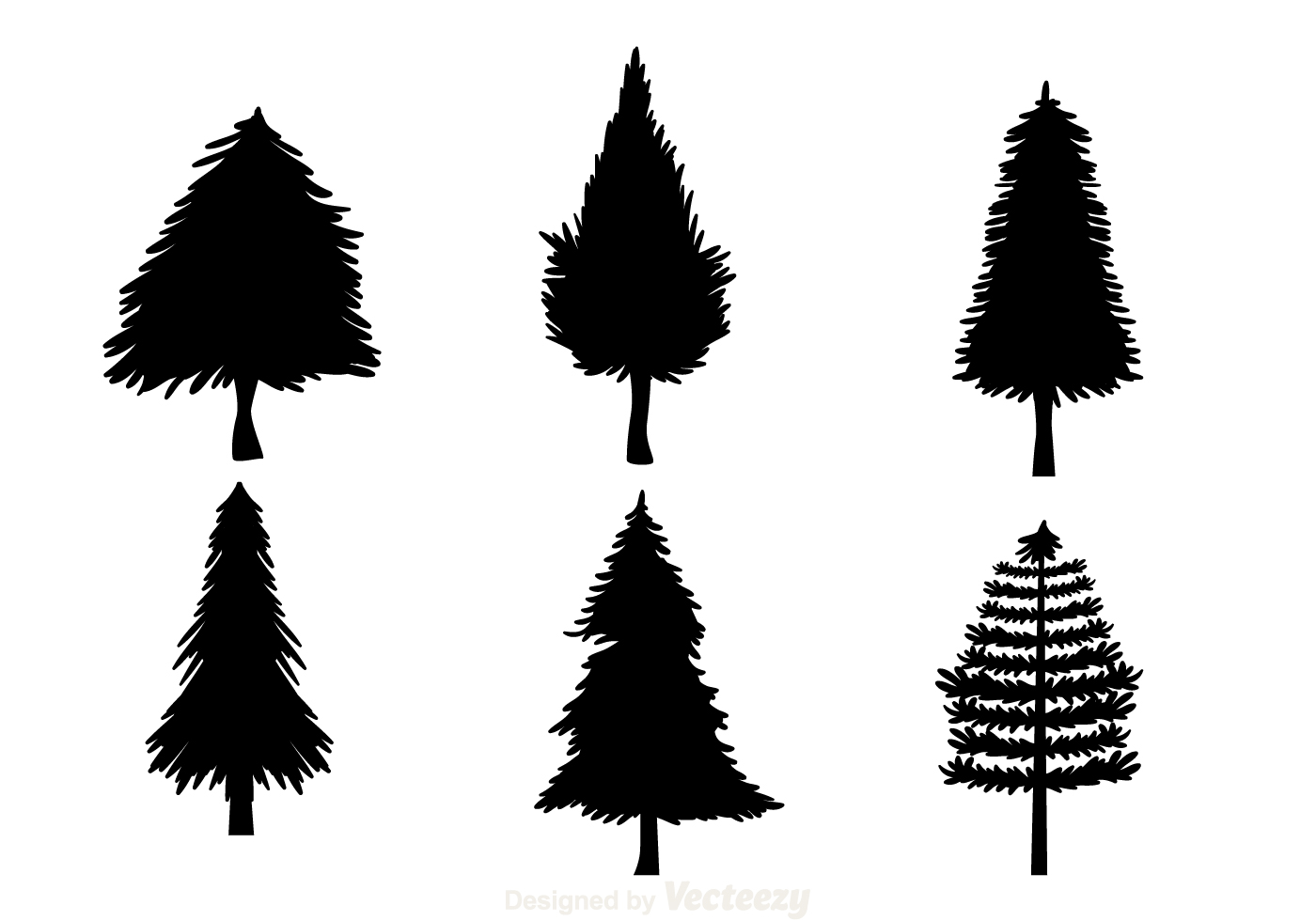 Black Christmas Tree Silhouettes