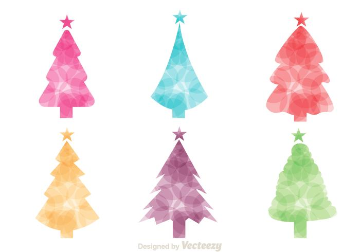 Colorful Christmas Tree Silhouette Vectors
