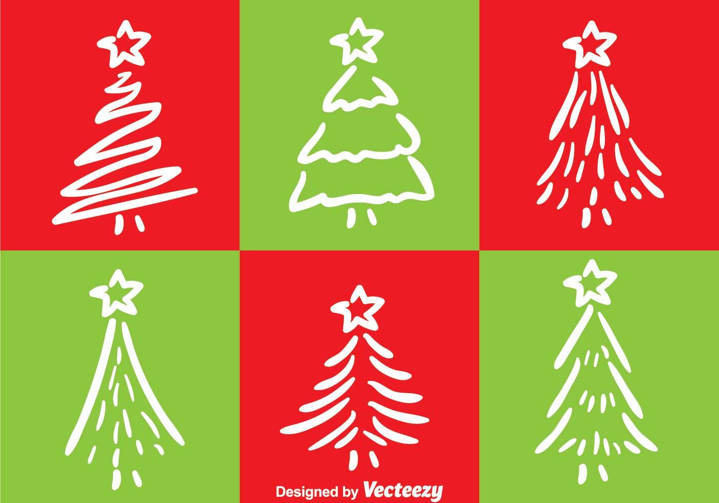 White Line Christmas Tree Vectors