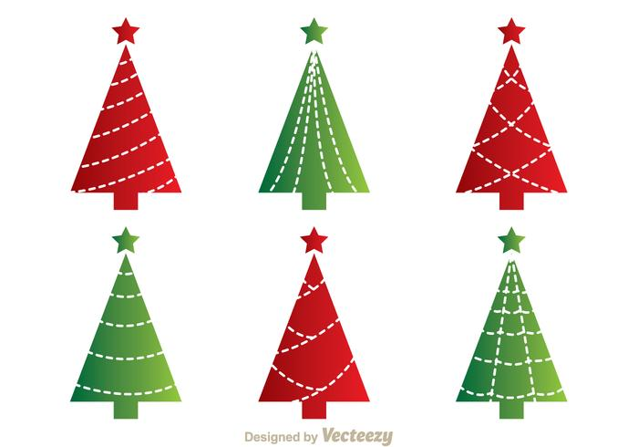 Red And Green Cristmas Tree Vectors