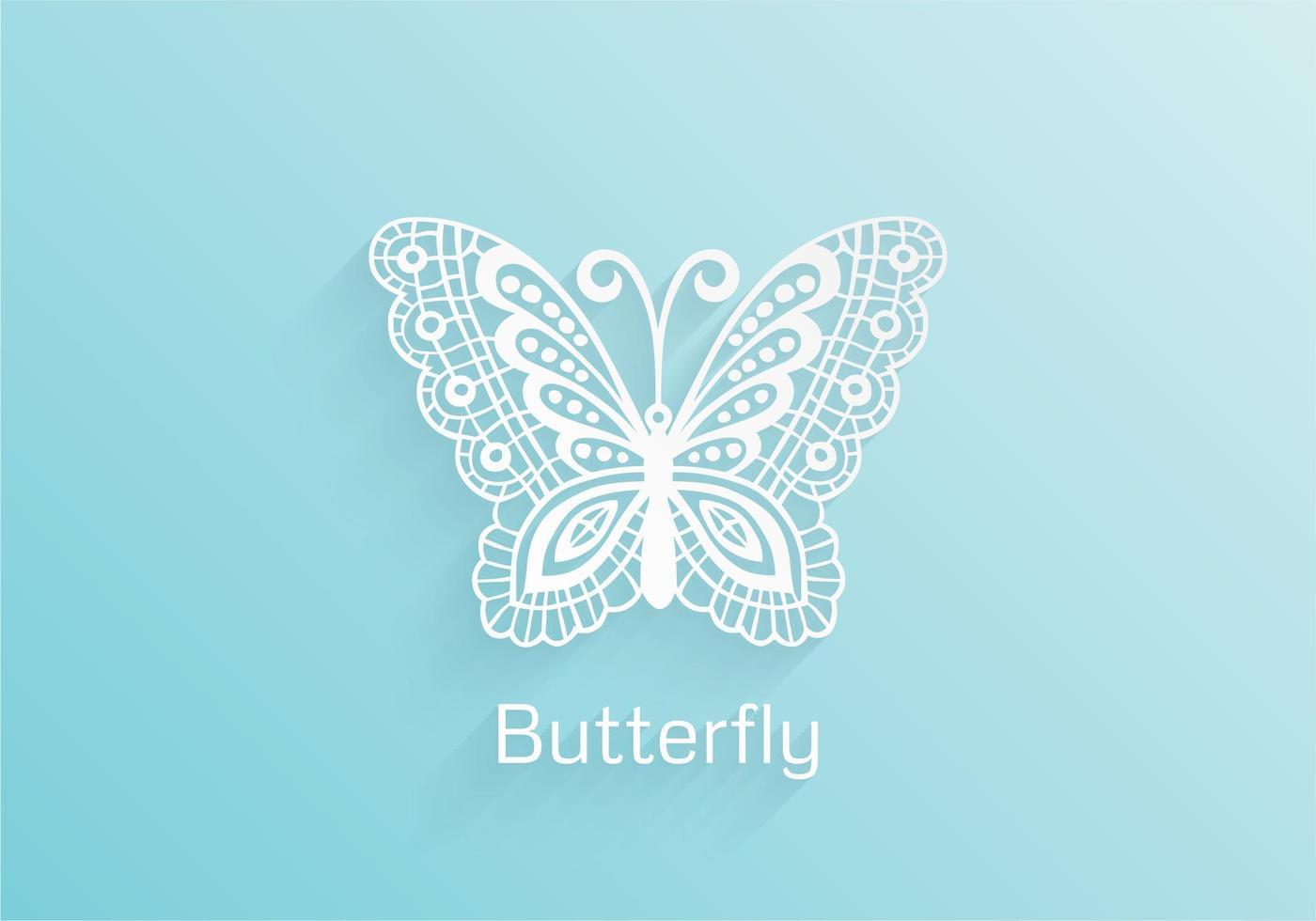 Papel libre de mariposa de encaje Vector