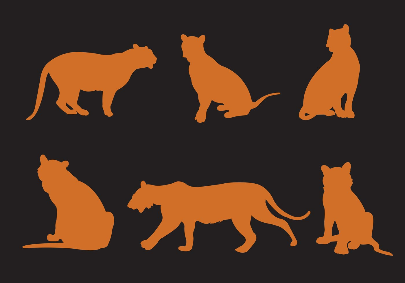 Vector Free Vectors -  of Silhouette Tigers Download