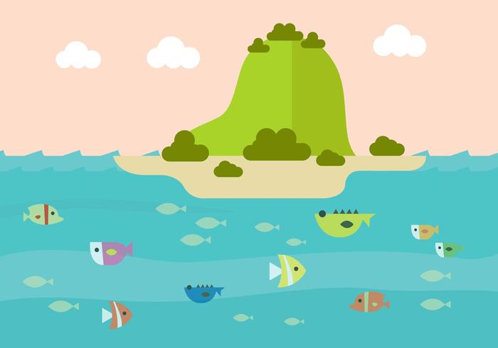 Vector Illustration of Colorful Underwater Backgound