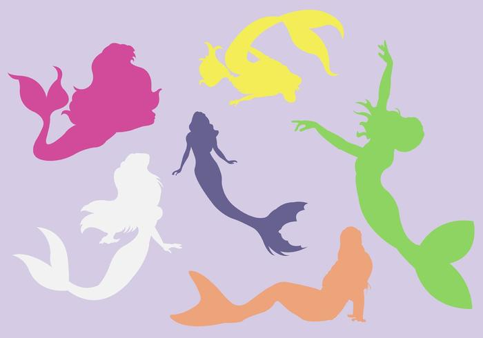 Vector Silhouette of Marmaids