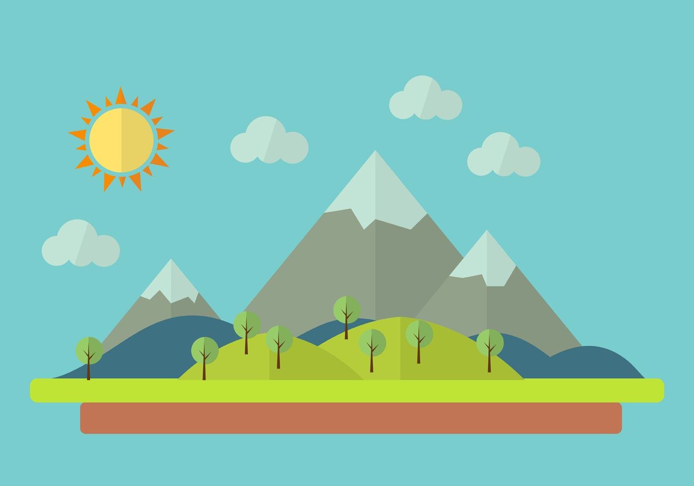 Landscape Illustration Vector Free: Vector Illustration Of Colorful Cartoon Landscape