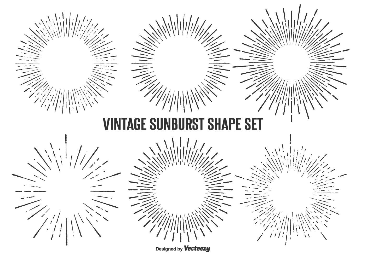 Vintage Sunburst Shape Set Download Free Vector Art