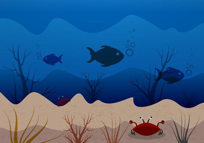 Escena submarina de fondo azul de fondo