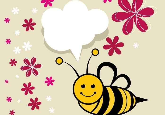 Cute Bee Vector com flores