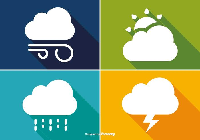 Basic Long Shadow Style Weather Icon Set