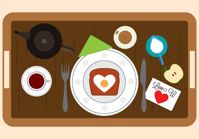 Vector Illustration of Breakfast in Bed Elements