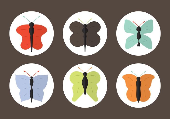 Vector Set of Cartoon Butterflies