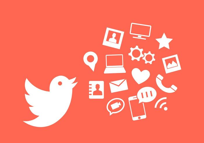 Vector Illustration of Twitter Bird and Other Communication Icons