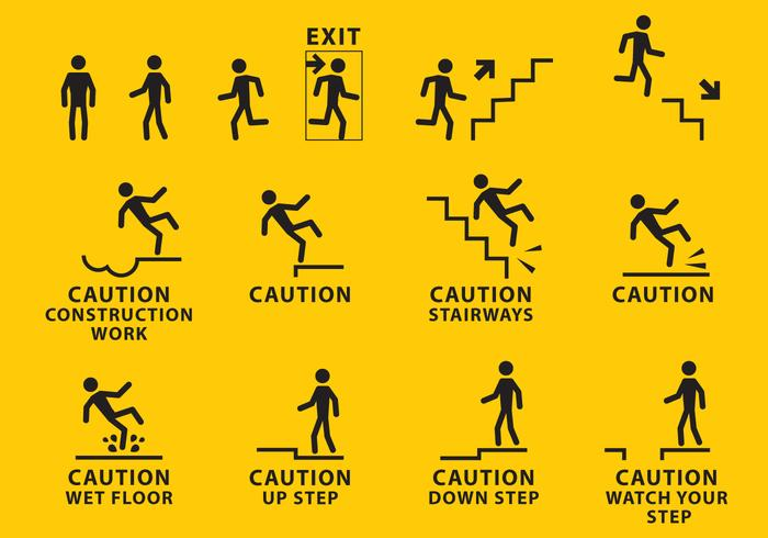 Human Body Template Warning Sign Vectors -...