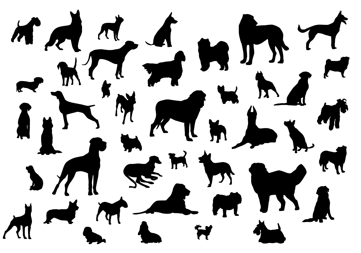 Dog Silhouettes Download Free Vector Art Stock Graphics