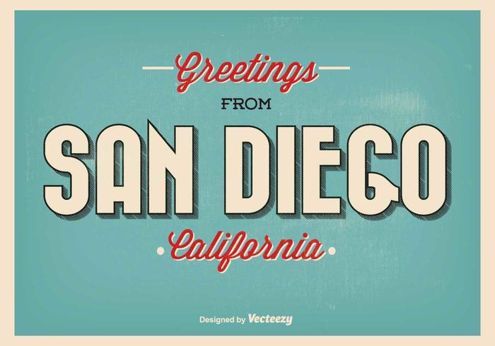 Retro Stijl San Diego Greeting Illustratie vector
