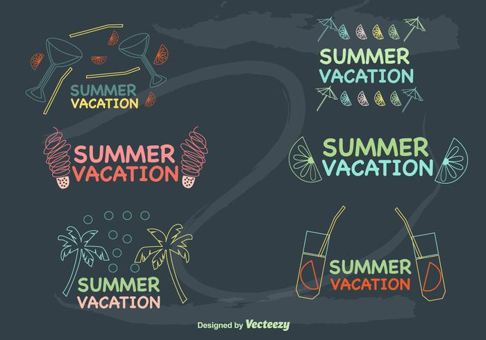 Hand-Drawn Summer Vacations Labels