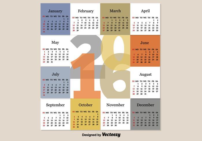 Calendario moderno 2016 vettore