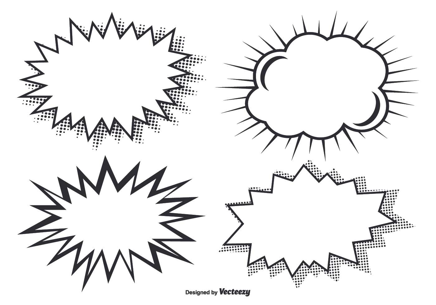comic style burst shapes vector