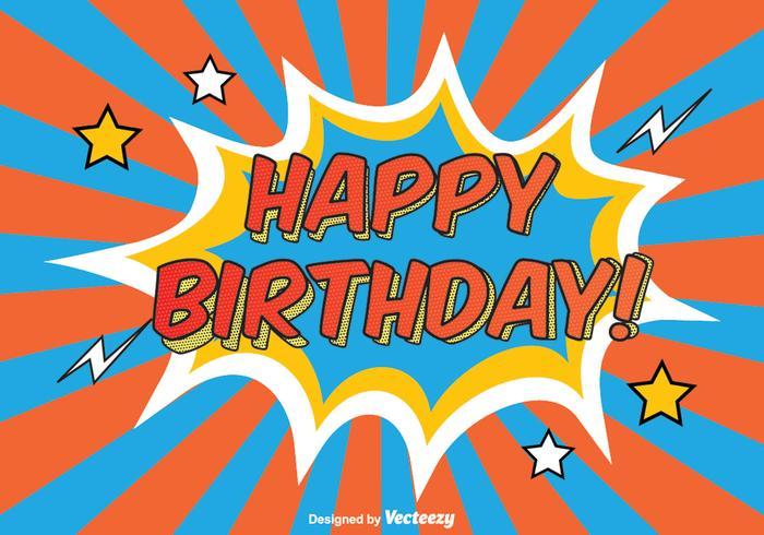 Comic Style Happy Birthday Illustration
