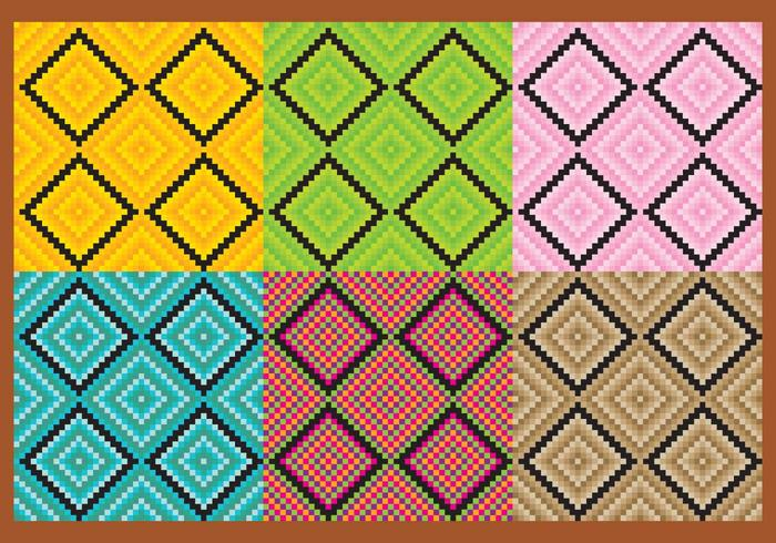 Square Aztec Pattern Vectors