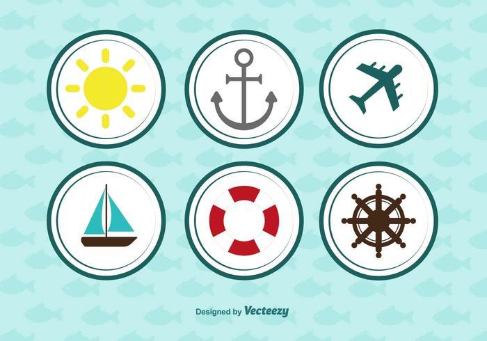 Jeu d'icônes arrondis nautique