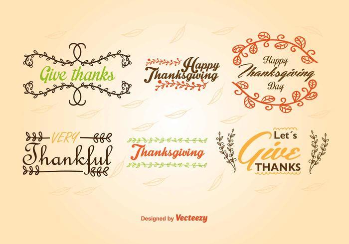 Caligraphic Thanksgiving etiketter vektor