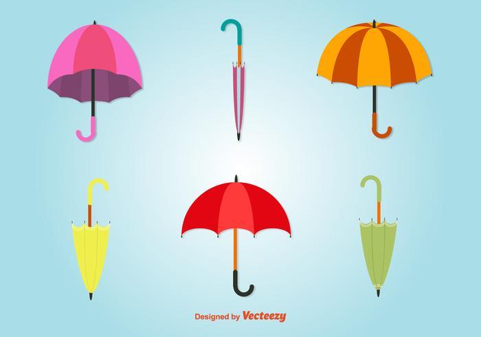 Flat Colourful Umbrellas Icons