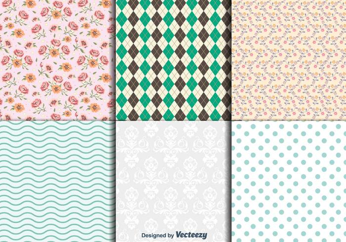 Vintage Floral and geometric textures vector