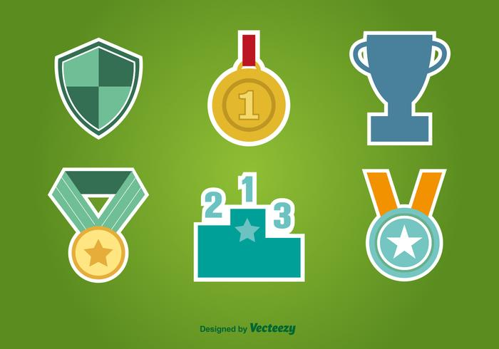 First Place Flat Icons vector