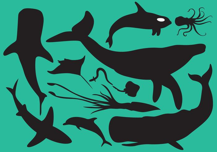 Sea Animals Silhouettes