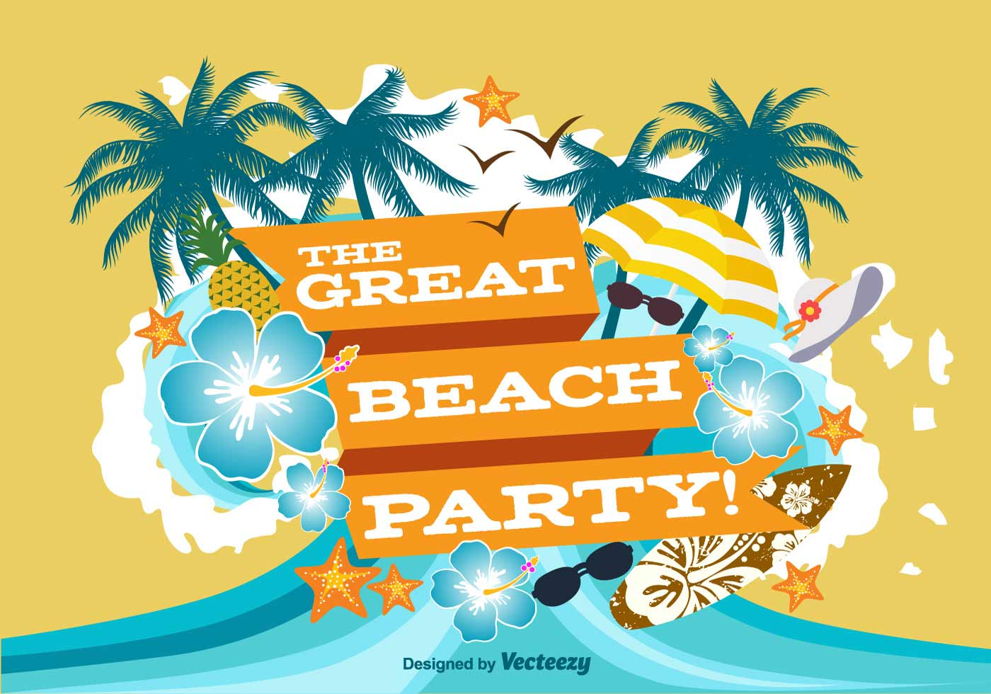 Beach Party Poster Illustration - Download Free Vector Art, Stock Graphics & Images