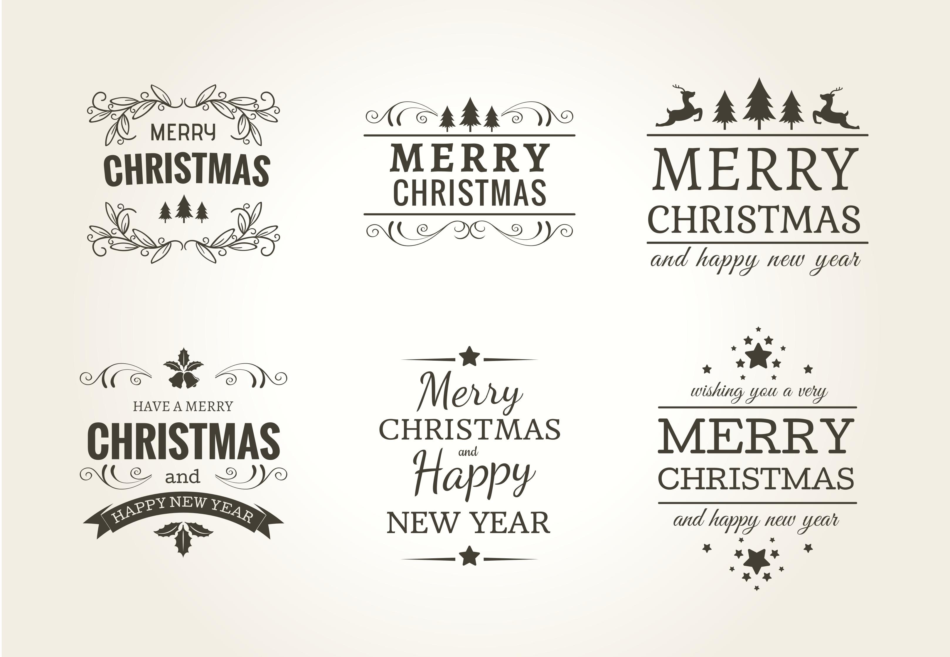 Weihnachten Typografisches Label Set - Kostenlose Vektor-Kunst ...