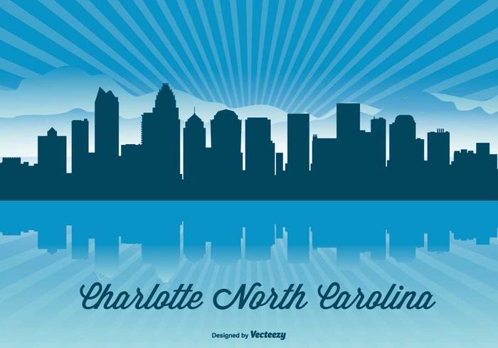 Charlotte Carolina Skyline Illustration vector