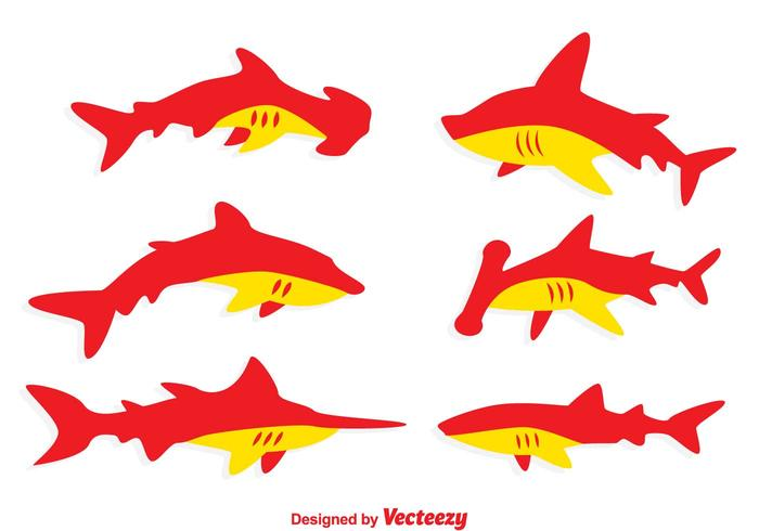 Red And Orange Shark Vectors