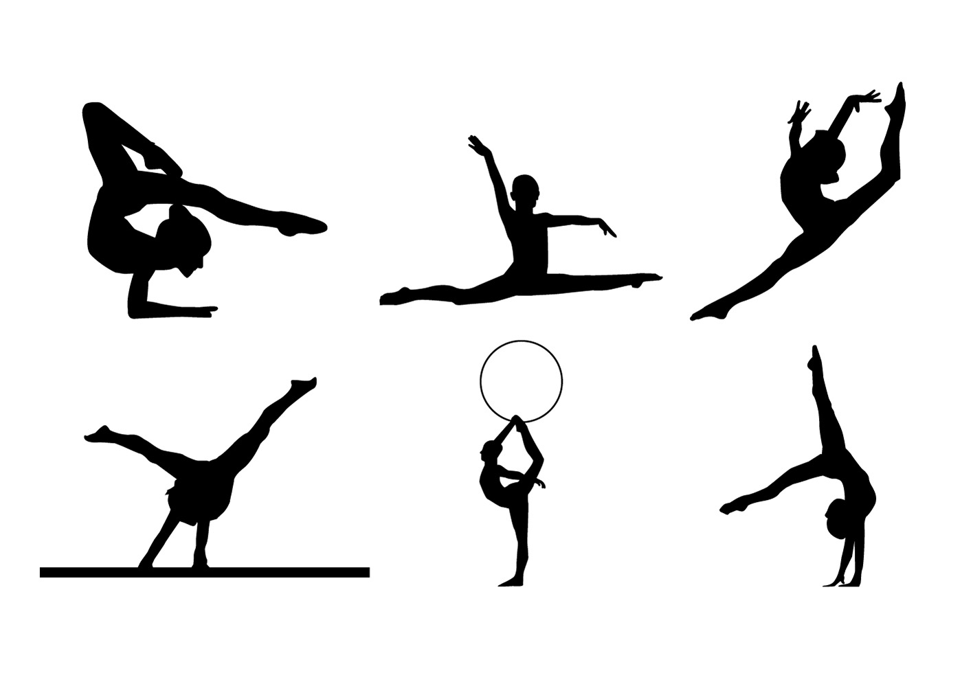 Gymnastic Silhouette Vectors - Download Free Vector Art, Stock Graphics  Images-8412