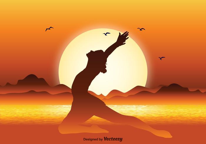 Gymnast Silhouette in Beautiful Sunset Illustration