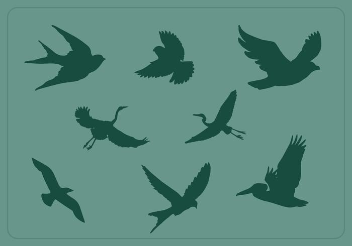 Free Flying Bird Silhouette Vectors
