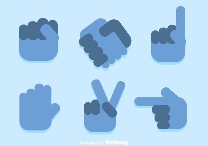 Blaue Hand Icons