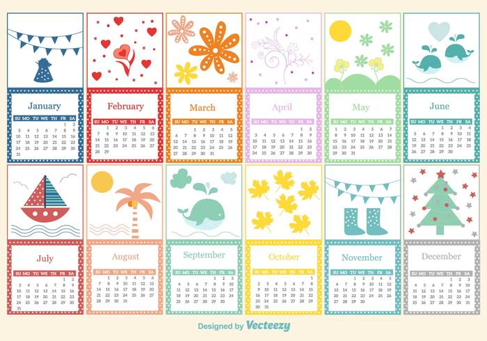 Plantilla infantil del calendario