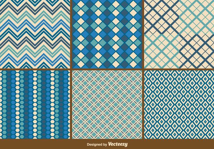 Blue Retro and Geometric Patterns